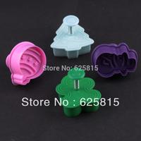 New 2014  4pcs/1set Plastics Cartoon Snowman tree Cutter Cookie Bake Mold 60-437
