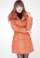 Autumn and winter hot-selling fashion medium-long with a hood cotton-padded jacket thermal slim thickening wadded jacket 601