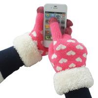 women's winter warm  faux fur heart love knitted gloves cute iglove female screen touch gloves