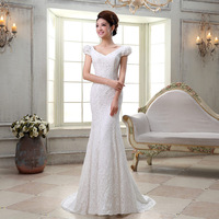 New arrival 2013 fish tail wedding dress train lace slit neckline slim bandage