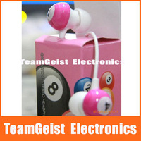 Snooker Billiards In-ear Color Earphone, Colorful Ball Earpiece Headphone Headset For Mobilephone MP3 Retail Box Free Shipping