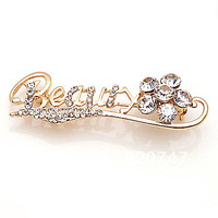 Golden letter and flower crystal brooch wholesale FY-014