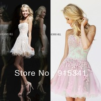 Sweet yet Cool Strapless Appliques See Through Organza Ivory Short Prom Dresses 2014
