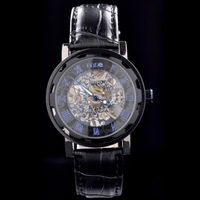 Classical black leather strap men mechanical watches Free shipping!