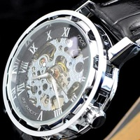 Free shipping!Classical novle mechanical black leather strap men watches