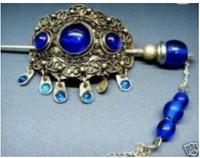 Charming Rare Blue stone jade tibet silver Hair Hairpin Free shipping