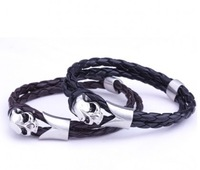 Fashion punk rock stainless steel skull leather weave men bracelet bangles free shipping ZC005