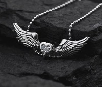 European style high fashion statement angle's wing heart rhinestone men's pendant necklace for men wholesale men's jewelry