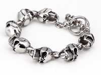 free shipping Cc fashion coarse skull titanium male bracelet accessories  2013 hot sale!