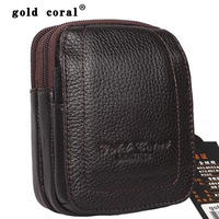 Gold coral leather waist pack male cowhide waist pack fashion mobile phone bag strap waist pack cigarette packaging