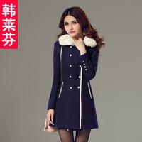 Winter women's 2013 medium-long wool woolen overcoat double breasted slim fur collar outerwear