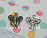 Free Shipping 40pcs/Lot Mixed Two Color  Lovely Elephant Pendants Charms 28x25mm