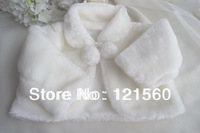 Free shipping  White flower girl long-sleeve cape  2-10 age