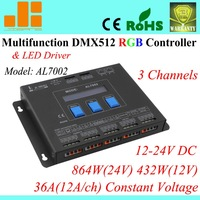 Free shipping Multifunctional RGB Controller / DMX led driver / DMX Controller master, 3 Channels AL7002