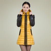 Women down winter cotton-padded jacket winter plus size clothing outerwear wadded coat medium-long fashion lace design