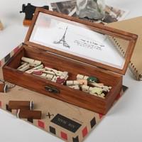 Korea stationery wood grain vintage jewelry storage box/ pencil case/ transparent cover stationery box