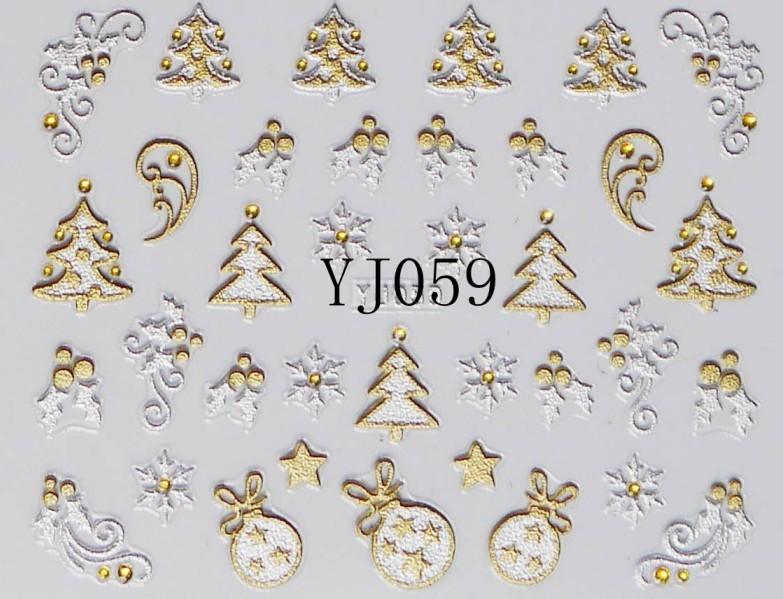12 Designs Christmas Nail Art Stickers 3D Gold & Silver Metalic Snowflake Christmas Tree XMAS Nail Decorations SKU:XB0527(China (Mainland))
