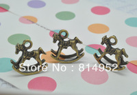 Free Shipping 40pcs/Lot Bronze Tone 3D Lovely Hobbyhorse Charms Pendants 16x16mm