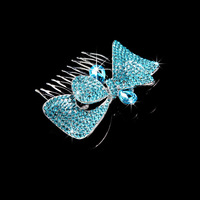 Wedding accessories blue rhinestone butterfly hair accessory hair pins bridal hairpins