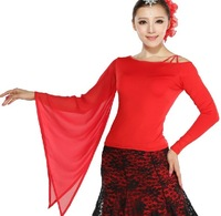 Unique Design! One Flare Sleeve Lady Ballroom Dance Top Fashion Women Waltz / Tango Perform Costume/Wear Mixed Colors&Sizes