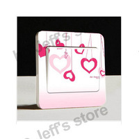 Hot sales Creative Switch Stickers love sweet heart Bedroom Parlor Wall Stickers 87*87mm Free Shipping