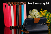 New! 8 Color High Quality Support Stand Flip PU Leather Wallet with Card Holder design Cover Case for Samsung Galaxy S4 i9500