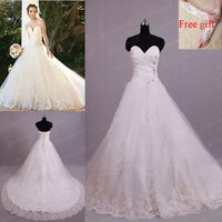 Free Shipping 100% Real Photos Ball Gown Sweetheart Court Train Elgant Wedding Dress Brial Gown With Applique WDB4613