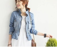 Free shipping 2013 Fashion Women ladies jacket slim long sleeve coat deep and light blue 2 colors elegant jacket
