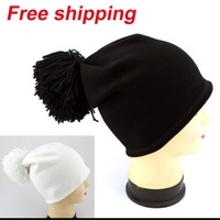 2013 New winter edition set of head cap pure color hat Female Knitting Wool Warm Hats free shipping