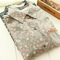 New 2014 Vintage shirt female spring rustic small fresh shirt  women fashion blouses ladies autumn winter top free shipping
