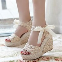 Free shipping Summer 2013 women's platform high-heeled shoes wedges female sandals open toe comfortable female sandals