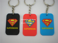 Superman Dog Tag Keychain, Silicon Key Ring, Promotion Gift, 3Colours, 50PCS/Lot, Free Shipping