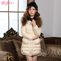 Slim thin big pocket female medium-long down coat 2013 raccoon large fur collar o-neck vintage