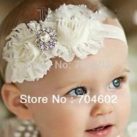 Big Sale baby Headbands new 2014 Double Chiffon Shabby Rose Flowers With Alloy Rhinestone Kids Headbands Hiar Accessory FD193