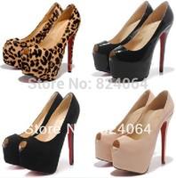 2014 Wholesale- Women shoes, leopard high heel shoes, horsehair dress shoes, ladies platform pumps!brand peep toe 160mm
