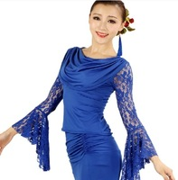 Sexy Lace Mandarin/Trumpet Sleeve Women Swing Collar Ballroom Modern Competition Top Two Different Wearing Styles Mix Color&Size