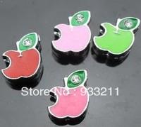 Wholesale 100pcs 8mm mix color apple slide charms