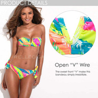 2014 New Arrivals! RELLECIGA Full-Lined Bright Colored Palm Pattern Bandeau Bikini Setwith a Sexy Open V Wire at Center Front