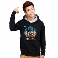 2013 winter outerwear DORAEMON plus velvet with a hood pullover sweatshirt male