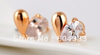Retail Gold Rhodium Plated  AAA Cubic  Zirconia Zircon Earrings Drop Crystal Stud Earrings Jewelry Accessories
