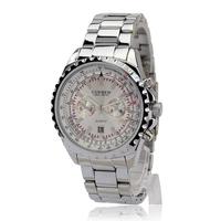 Relogios Wholesale New Fashion Men/Women Quartz Casual Dress Watches With Full Steel Strap&Rhinestone Wrist Watch Items