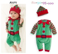 Wholesale! 2014 new! Children set(4pcs/1lot)100%cotton cartoon clothes Christmas romper +hat,Children's Christmas clothing