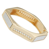 New Arrivel  High Quality European And USA Style Exaggerated Hexagon Metal Crystal Bracelet Gold