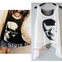 Individual Punk Skull Print Asymmetrical Hem Hollow Back Bottom Girl Shirt Tops Blouse E0514