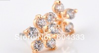 Retail Gold Rhodium Plated  AAA Cubic Zirconia Square  Zircon Earrings 5 Crystal  Flower Stud Earrings Jewelry Accessories