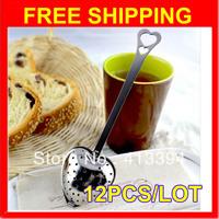New 12 pcs Heart Shaped Filter Tea Balls Stainless Steel Tea Strainers Oblique Tea Stick Tube Tea Infuser Steeper