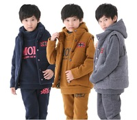 2013 new kids clothing sets ,children outerwear,Three pieces of Coat + vest+trousers 100% cotton top quality