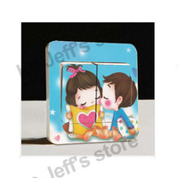 Hot sales Creative Switch Stickers Sweet cute romantic couple kissing Parlor Wall Stickers 87*87mm Free Shipping