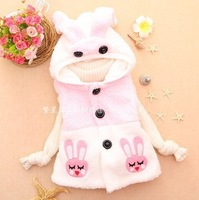 spring autumn winter new children's vest kids fashion cartoon rabbit hooded vest free shipping