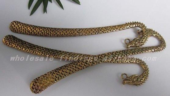 free shipping 20Pcs golden tibetan silver dragon bookmark with loop(China (Mainland))
